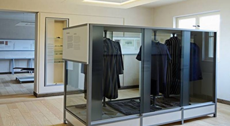 Display case with original prisoner clothing